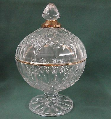 Cristal D'Arques crystal LONGCHAMP Gold CANDY DISH with Lid Durand