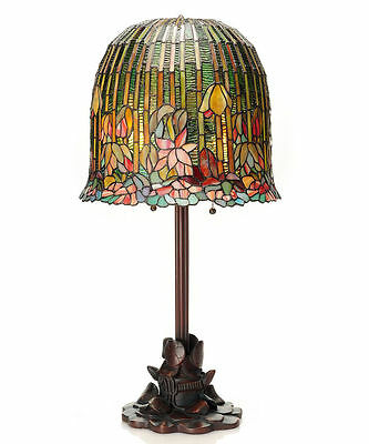 """29"""" Tiffany Style Pond Lily / Hanging Lotus Table Lamp #13829  Stained Glass"""