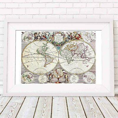 WORLD MAP - Jon Senex 1721 Wall Chart Poster Print Sizes A5 to A0 *FREE DELIVERY