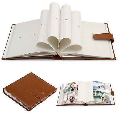 "6x4"" PU Leather Photo Album 200 Photos Brown Vintage  Cover Slipin Memo Book"
