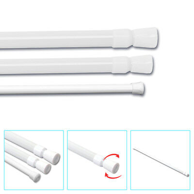 Spring Loaded Extendable Telescopic Net Voile Tension Curtain Rail Pole Rod Bath