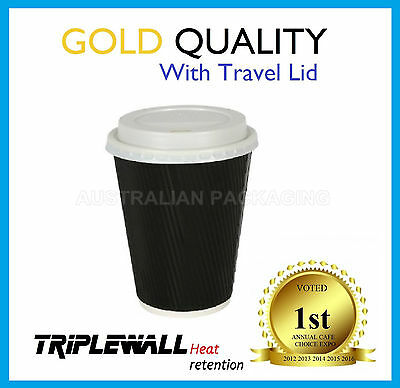100 SET 12oz COFFEE CUPS TRIPLE WALL + LID DISPOSABLE PAPER CUP TAKE AWAY BLACK