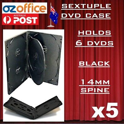 5 x PREMIUM Sextuple Black DVD Case Holds 6 Disc Six DVD Cover 14mm Pivot Tray