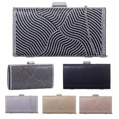Womens New Hardcase Box Textured Diamante Evening Clutch Bag Purse