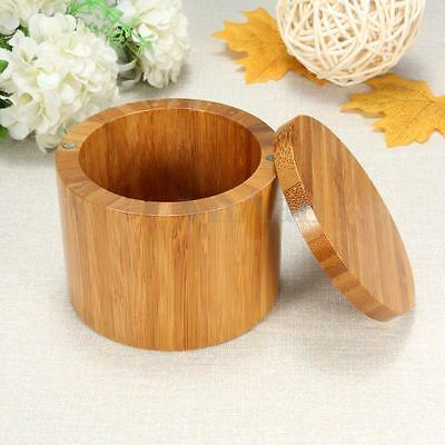 Wood Bamboo Round Salt Pepper Spices Box Kitchen Storage Case With Magnet Lid