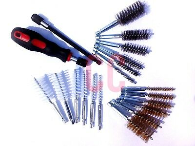 20pc Small wire pipe brush brushes brass steel nylon rust clean hex drill shaft