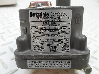 Barksdale Controls Division D2T-A150SS pressure switch NEW