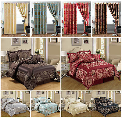 Bedspread 7 Piece Jacquard Comforter Set,Bed Set With Cushion Covers +R.Curtains