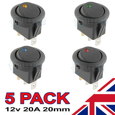 5 x LED Illuminated Round Rocker Switch Car ON/OFF 12v Red Blue Green Amber