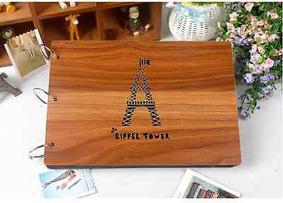 DIY 30Pages 27.3 x 19.8cm Wood Cover 3 Rings Photo Album Wedding Scrapbook TOWER