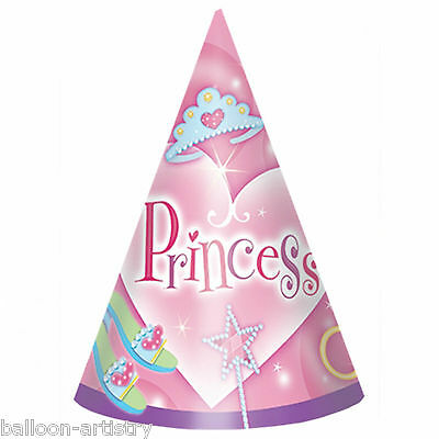 """8 Pink Jewel Princess Girl's Birthday Children's Party 6"""" Paper Cone Hats"""