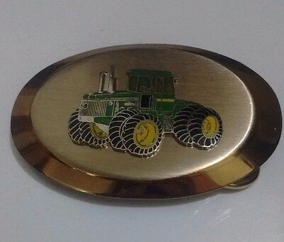 John Deere Belt Buckle with Green & Gold Tractor