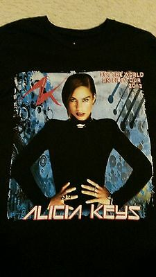 **RARE** Large Alicia Keys 2013 Set The world On Fire World Tour T-shirt