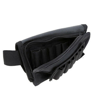 Tactical Hunting Rifle Shotgun Buttstock Cheek Ammo Leather Pouch Shell Holder