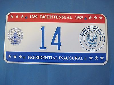 1989 DC Bicentennial Inaugural license plate excellent condition Louisiana seal