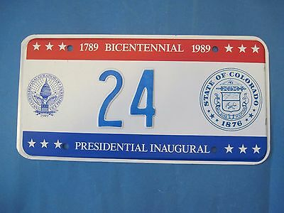 1989 DC Bicentennial Inaugural license plate excellent condition Colorado seal