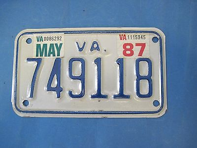 1987 Virginia Motorcycle License Plate