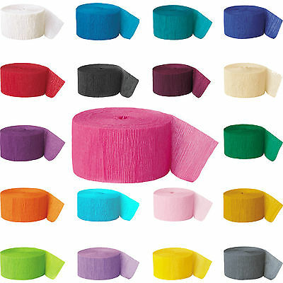 Crepe Paper Rolls 81ft - Streamer Party Decoration Bunting 24 metres -19 Colours