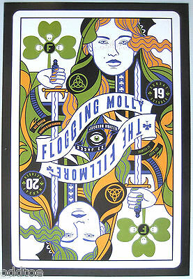 FLOGGING MOLLY Orig. 2009 Concert Poster by Scrojo, Fillmore F975, playing cards