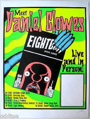 DANIEL CLOWES- Original S/N 1996 Event Poster by Lindsey Kuhn, Switzerland