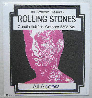 ROLLING STONES Unused Rare ALL ACCESS Pass Candlestick Oct 17/18 1981 Tattoo You
