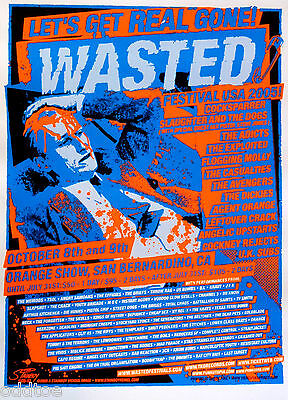 Wasted  Festival USA 2005, silkscreen Concert Poster Flogging Molly Agent Orange