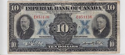 November 1st 1933 Imperial Bank of Canada Toronto $10 Note S/N E053136 F-VF