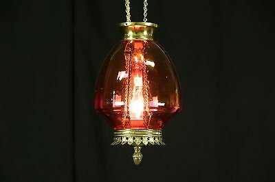 Cranberry Glass 1880 Antique Oil Lamp Hall Light, Electrified