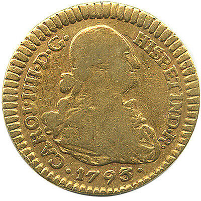 Colonial Gold coin Popayan 1 escudo bust, Charles IIII 1793 JF #4019