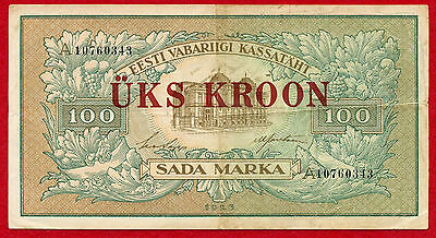 1923 ESTONIA 1 Kroon on 100 Marka Notes 61b VF
