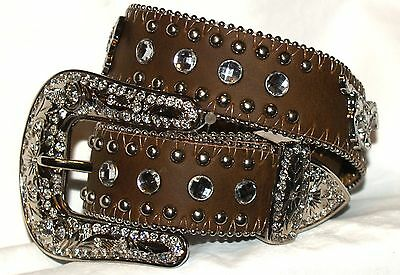 Girls Brown Nocona® Western Bling Belt with Running Horse Conchos
