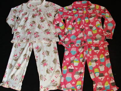 NWT Carter's Girls Fleece Pajamas Size 4 Winter Pjs 2 pairs Pink Sleep Pants NEW