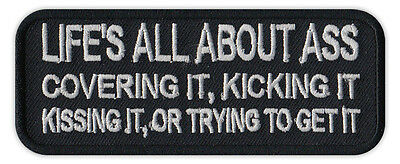 Motorcycle Jacket Patch - All About Ass, Covering, Kicking, Kissing, Getting