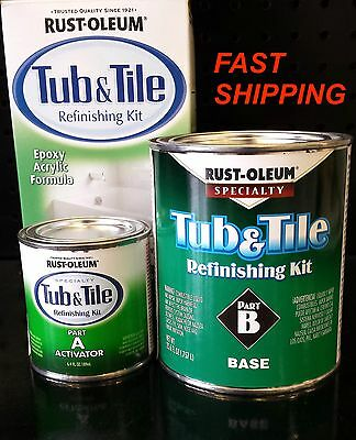 Rustoleum Tub & Tile White Refinishing Paint Kit Tiles Bathtub Sink Shower Brush