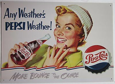 Pepsi Cola Any Weather Pin Up Soda Pop Beverage Soft Drink Metal Sign