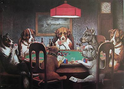 Seven Dogs Playing Poker Dog Metal Sign