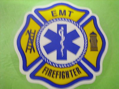 "Emt Firefighter W/ Star Of Life Center  3M  3"" Navy Yellow Inside Window"