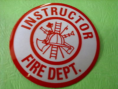 "Instructor Fire Dept  3"" Circle  White & Red Reflective Decal Sticker"