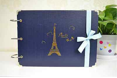 DIY 30 Black Pages Kraft Cover Paris Tower Photo Album Scrapbook Wedding Sign