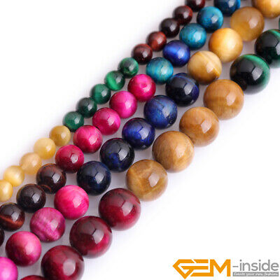 Assorted Pink Green Gold Blue Tiger's Eye Gemstone Round Jewelry Making Beads