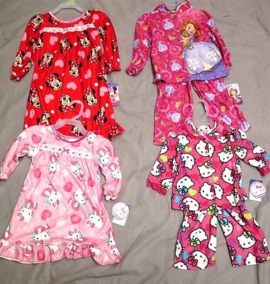 Disney & Hello Kitty Pj's & Nightgowns Brand New With Tags Super Cute