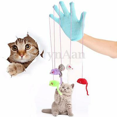 New Cat Kitten Play & Scratch Glove Mitt With Mouse Mice Trick Fun Activity Toy