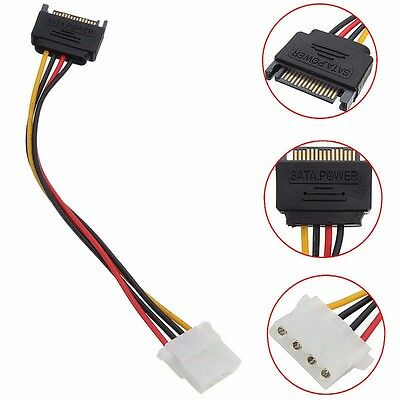 15 Pin SATA Male to 4 Pin Molex Female M/F Power Cable Adapter For IDE Drive CD