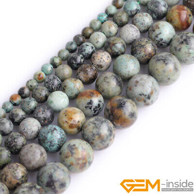 """Natural Gemstone African Turquoise Round Loose Beads For Jewelry Making 15"""" YB"""