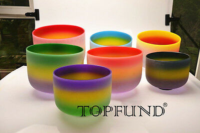 "Chakra Tuned Set of 7 Rainbow Colored Frosted Crystal Singing Bowls 8""-12"""