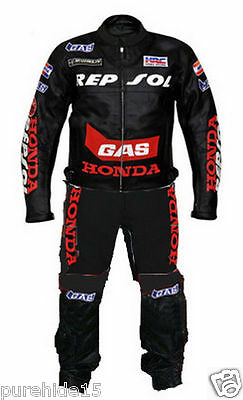 Repsol Motorbike Leather Suit Motorcycle Racing Suit Biker Suit All Sizes 2-Pc