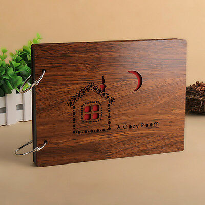 """DIY 30Pages 8"""" 22 x 16cm Wood Cover 2 Rings Photo Album Scrapbook HOUSE"""