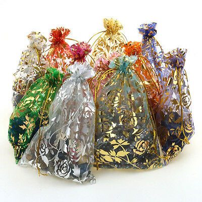 Lot 25/50/100PCS Candy Drawstring Organza Jewelry Wedding Favors Gift Pouch Bags