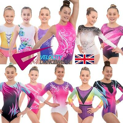 Deluxe Girls Lycra Short and Long Sleeved Leotard for Gymnastics, Gym and Dance