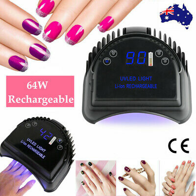 64W Rechargeable Nail Lamp LED UV Nail Light Polish Dryer All Gel Polish Curing